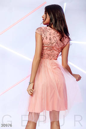 Вечернее платье миди с коротким рукавом цвет персиковый, фото 2