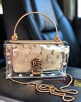 Прозрачная силиконовая сумка кросс-боди в горошек с длинной цепочкой Белый