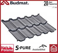 Металлочерепица модульная Budmat Venecja S-Pure (Arcelor Mitall -Германия) 1190x736 графитового цвета