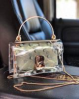 Прозрачная силиконовая сумка кросс-боди в горошек с длинной цепочкой Хаки