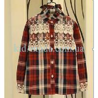 Рубашка в клетку с кружевными вставками для девочки