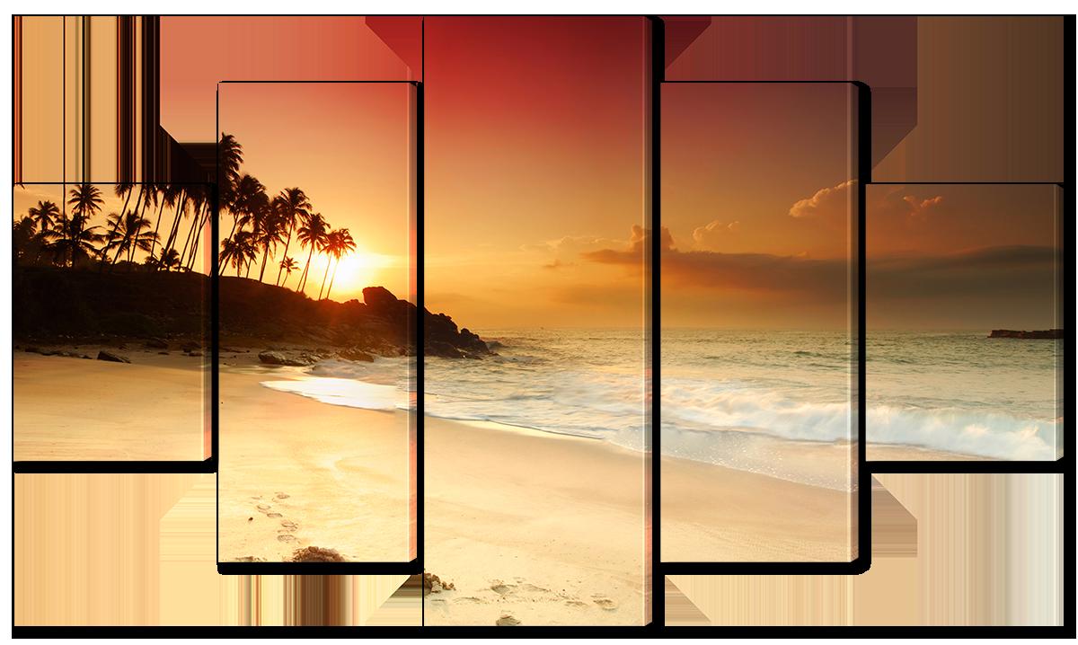 Модульная картина Interno Эко кожа Закат на побережье пальм 142х80см (A1657L)