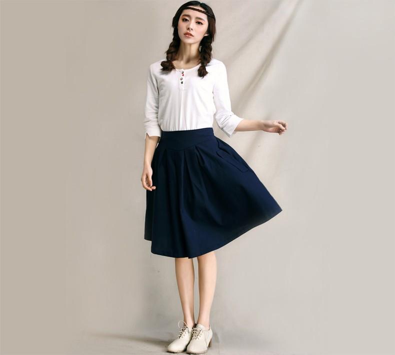 Хлопковая юбка темно-синего цвета