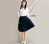 Хлопковая юбка темно-синего цвета, фото 1