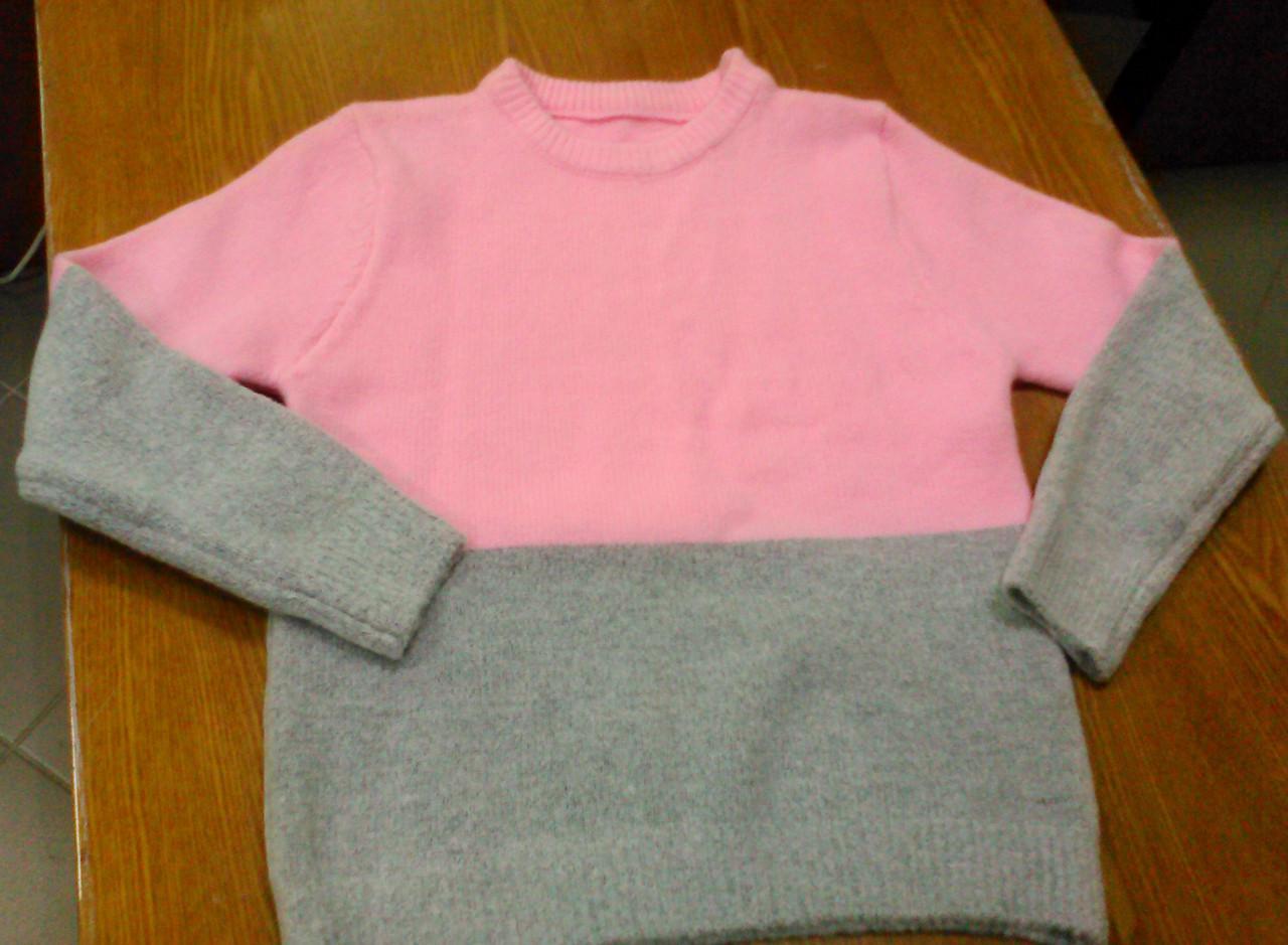 Теплый свитер серо-розовый, XS-М