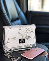Прозрачная силиконовая сумка с косметичкой и нежной вышивкой, фото 1