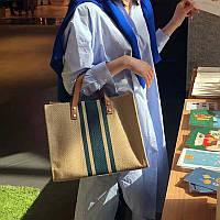 Тканевая сумка-шоппер кремового цвета с зеленой полоской опт, фото 1