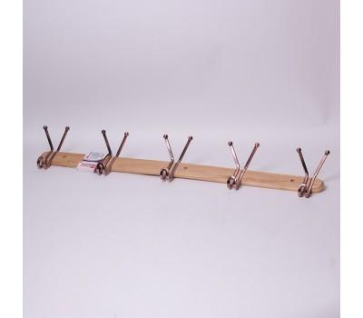 Вешалка для дома деревянная с 5 тройными крючками 81*6.5*13 см удобная современная