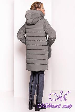 Женский зимний пуховик с мехом и шарфом (р. XS, S, M, L) арт. Лили 3523 - 37616, фото 2