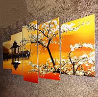 Модульная картина Сакура на стекле из 5 частей