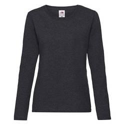 Женская футболка с длинным рукавом темно-серая меланж 404-HD