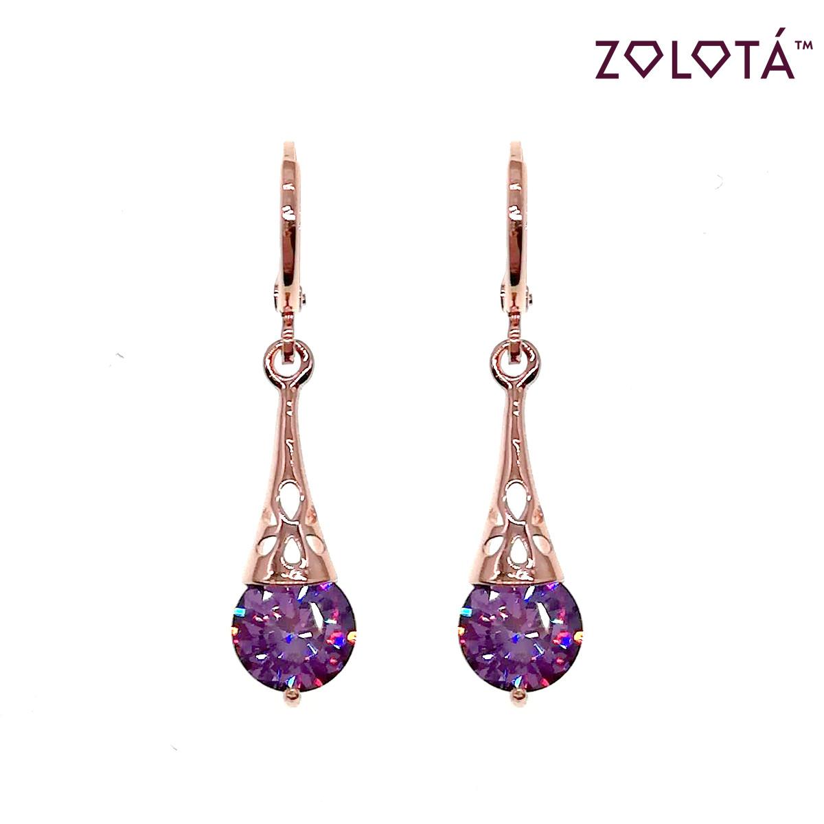 Серьги Zolota с фиолетовыми фианитами (куб. цирконием), в позолоте, ЗЛ00544 (1)