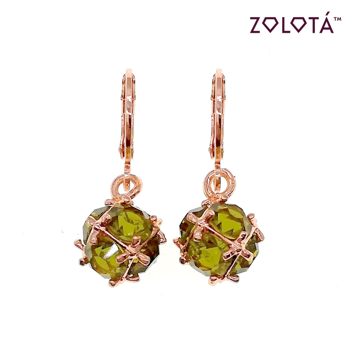 Серьги Zolota с зелеными фианитами (куб. цирконием), в позолоте, ЗЛ00551 (1)
