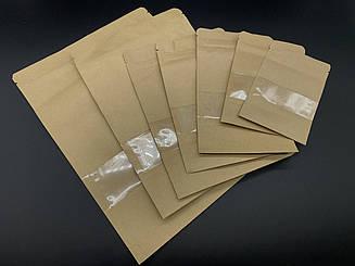 Пакеты дой-пак с прозрачным окном и с zip-застежкой. 10х12,5+2,5см