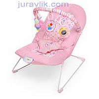 Шезлонг детский 30602 (Розовый) с погремушками и виброблоком для укачивания