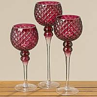 Набір з 3 скляних свічників на ніжці Марсал