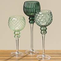 Набор из 3 стеклянных подсвечников на ножке Зеленое стекло