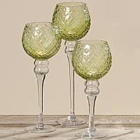 Набір з 3 скляних свічників на ніжці Зелене скло