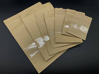 Пакеты дой-пак с прозрачным окном и с zip-застежкой. 12х17,5+2,5см