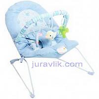 Шезлонг детский Bambi 30606 (голубой) с погремушками и виброблоком для укачивания малыша