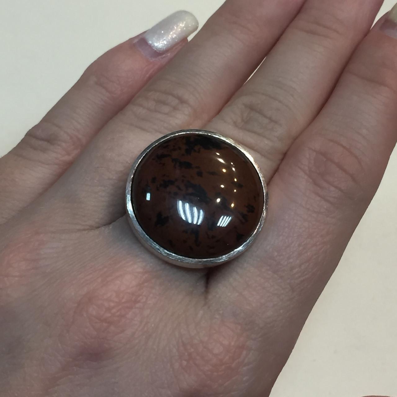 Обсидиан круглое кольцо с натуральным обсидианом в серебре размер 17-17,2 Индия!