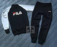 Мужской спортивный костюм в стиле Fila black-grey осенний / весенний