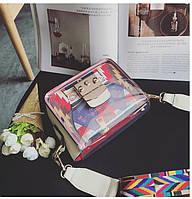 Яркая прозрачная маленькая женская сумка через плечо, белая, опт, фото 1