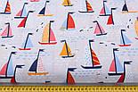 """Ткань хлопковая """"Парусники на волнах и чайки"""" на светло-сером  №2425а, фото 2"""