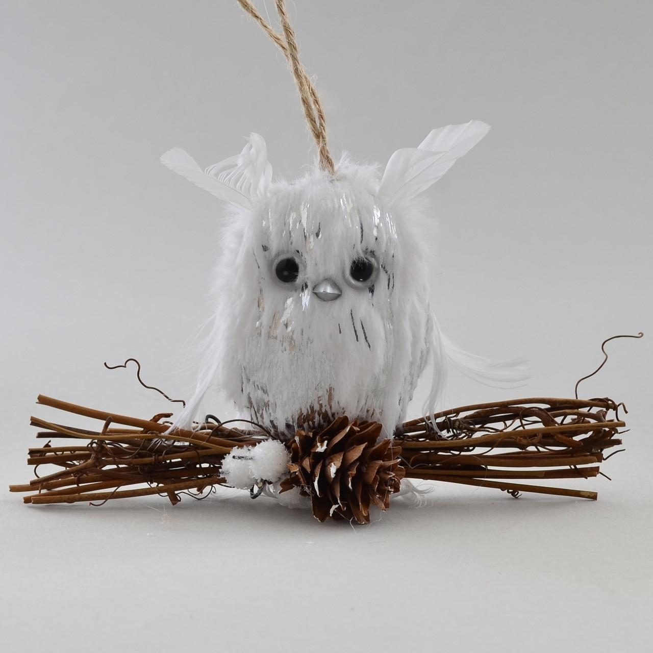 Сова на ветке декорированная серебром