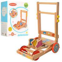 Деревянная игрушка детская каталка Wood Toys 1199: размер 29х38х49см (музыка)