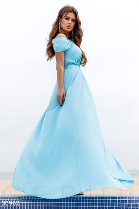 Длинное платье с открытыми плечами на фиксируемый запа́х цвет голубой, фото 2
