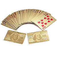 """🔝 Покерные пластиковые игральные карты с позолотой """"Доллар"""", колода 54 шт., , Настільні ігри"""