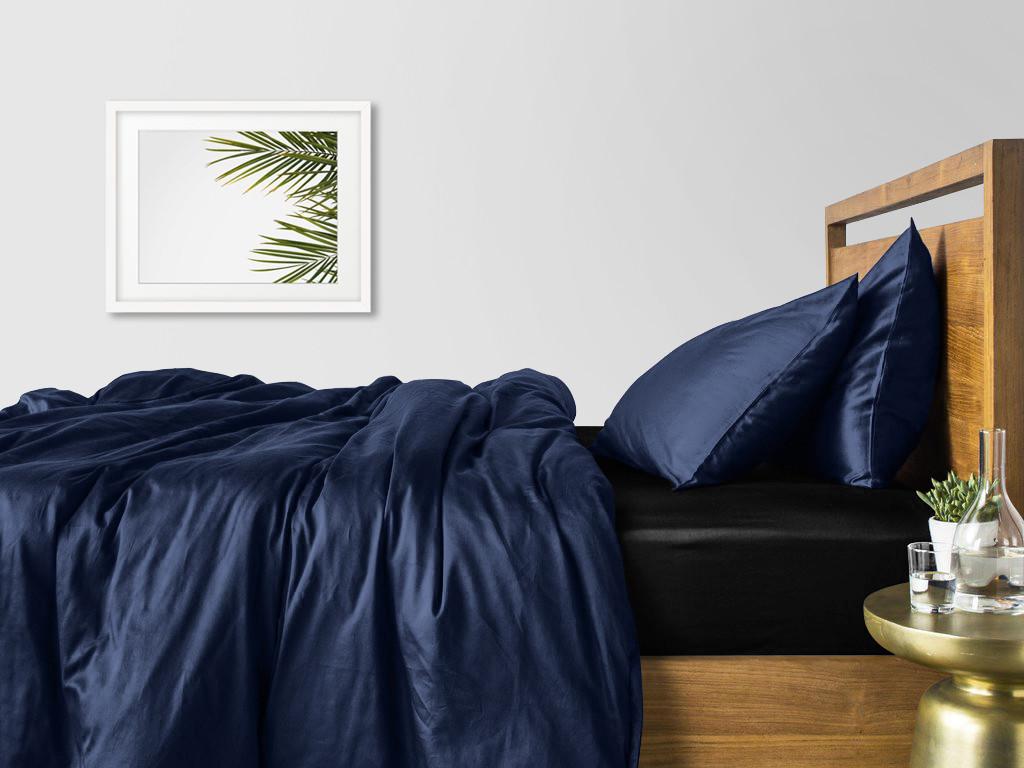Комплект семейного постельного белья сатин DARK BLUE BLACK-S
