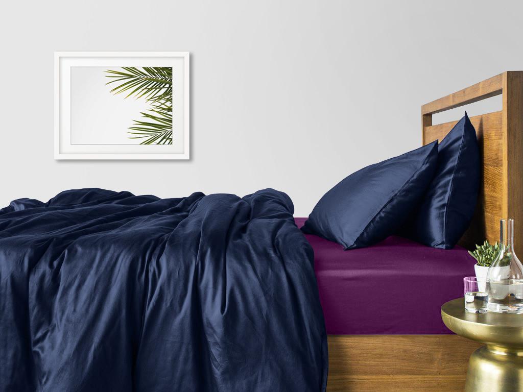 Комплект семейного постельного белья сатин DARK BLUE VIOLET-S