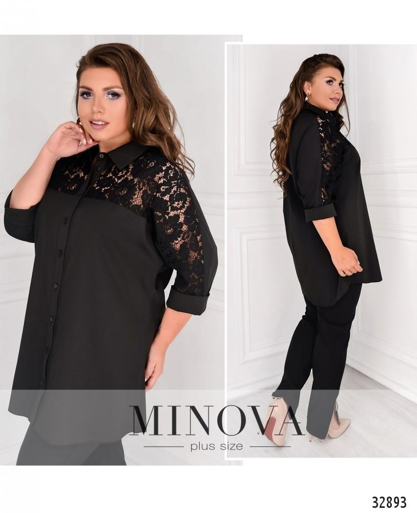 Нарядная женская рубашка с гипюровыми вставками с 48 по 62 размер
