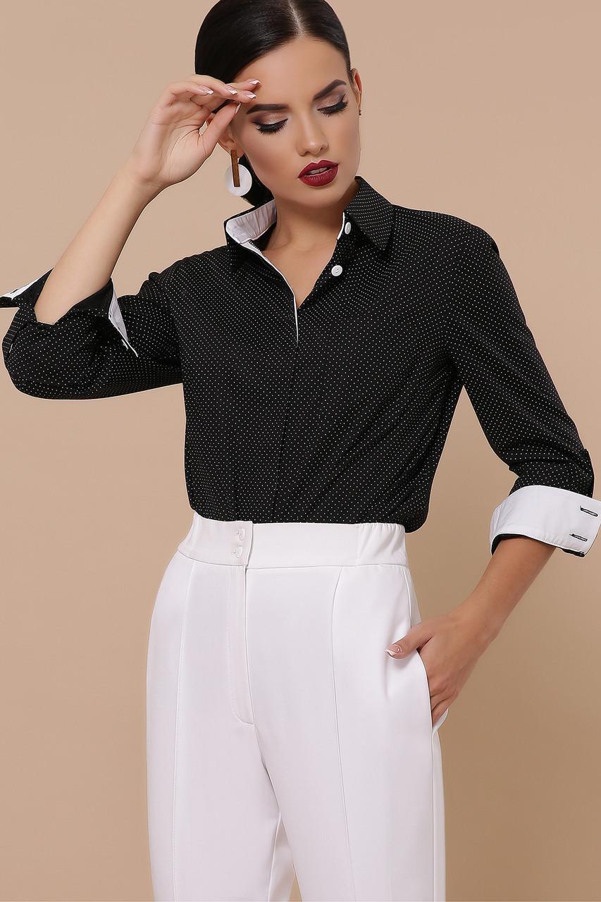 Женская блуза черная-белый мелкий горох-белая отделка Вендис д/р