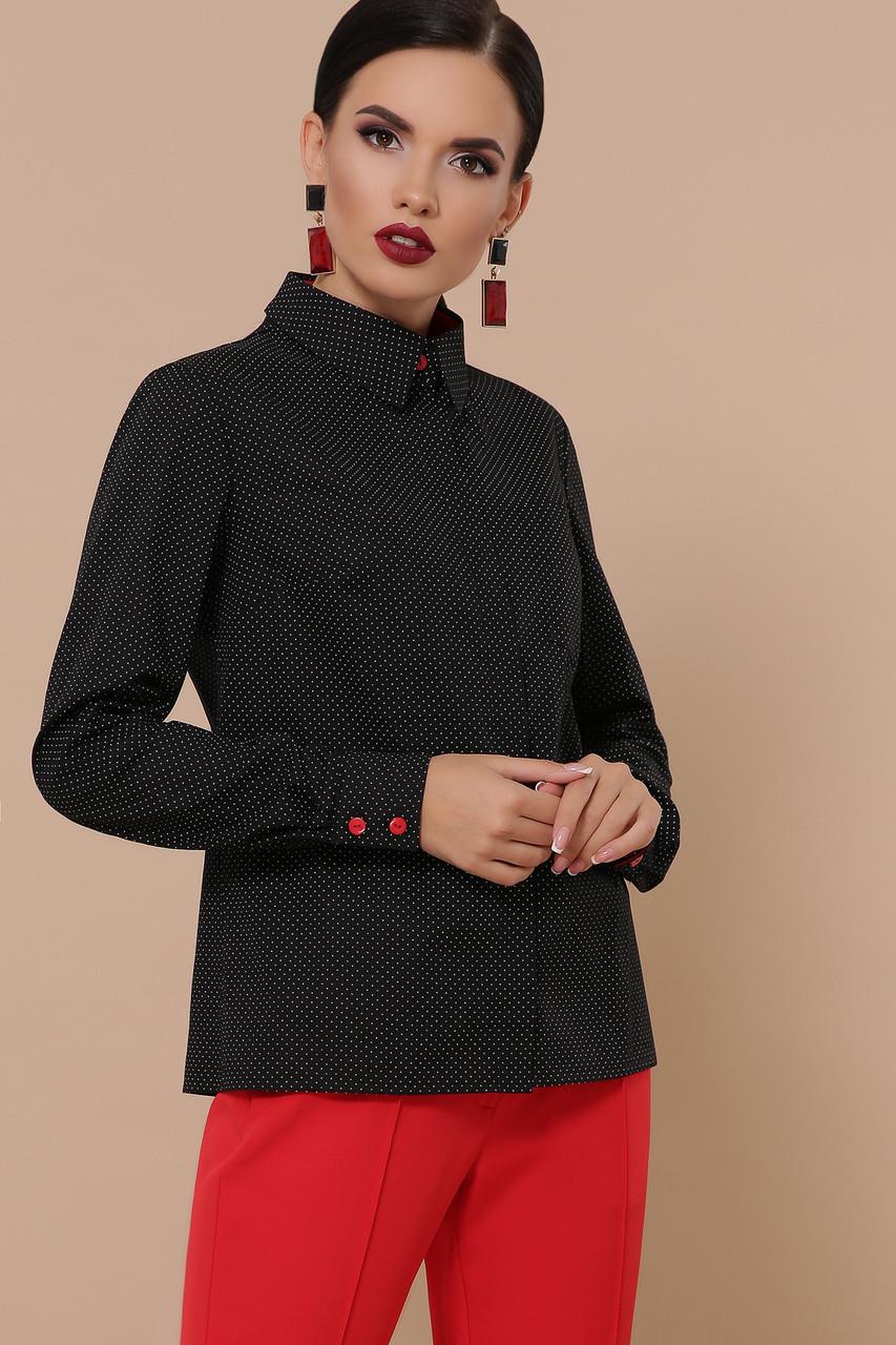 Женская блуза черная-белый мелкий горох-красная отделка Вендис д/р