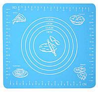 🔝 Силиконовый коврик для раскатки теста, и выпекания, в духовке, 29x26 см., цвет - голубой , Антипригарные коврики