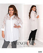 Красивая женская рубашка с гипюровыми вставками с 48 по 62 размер, фото 3