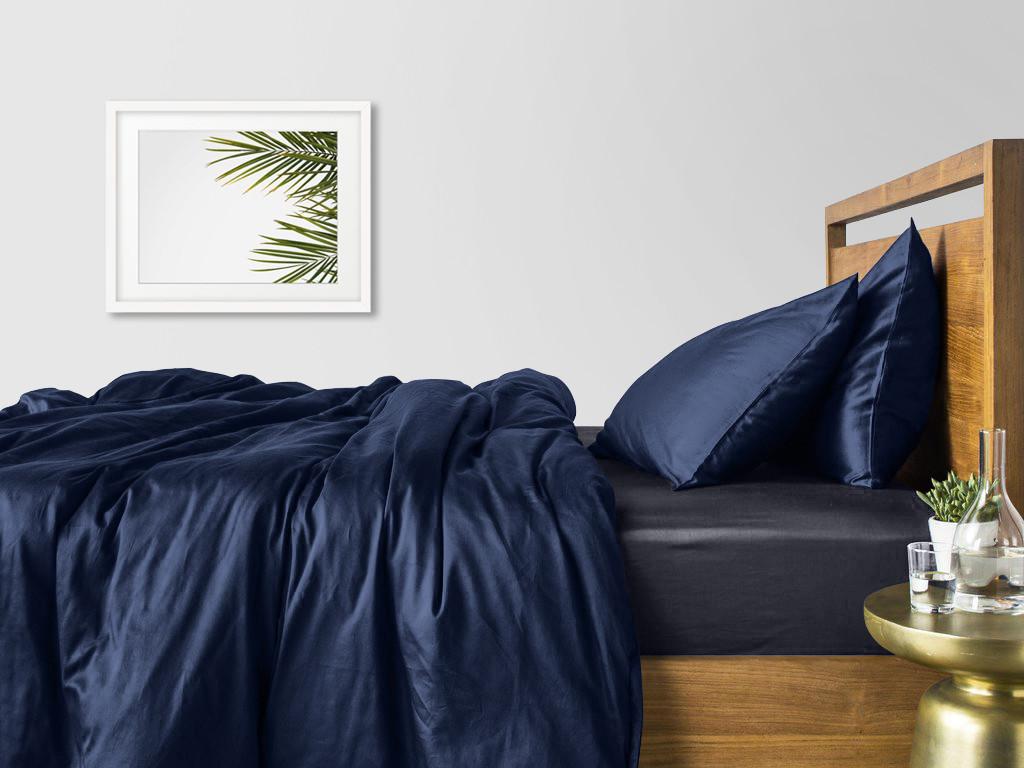 Комплект семейного постельного белья сатин DARK BLUE GREY-S