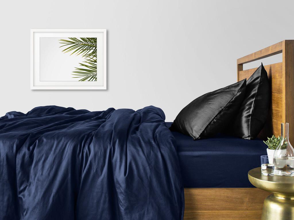Комплект семейного постельного белья сатин DARK BLUE BLACK-P