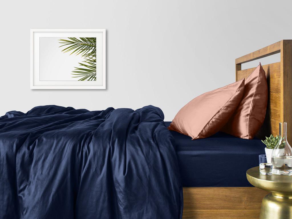 Комплект семейного постельного белья сатин DARK BLUE BEIGE-P