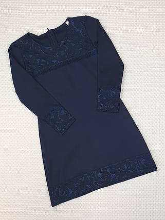Школьное платье футляр 122-140 темно-синий, фото 2