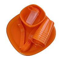 🔝 Набор посуды для пикника, Bita, комплект посуды, на 6 персон, 48 предметов, цвет - красный, Набори пластикового посуду, Наборы пластиковой посуды