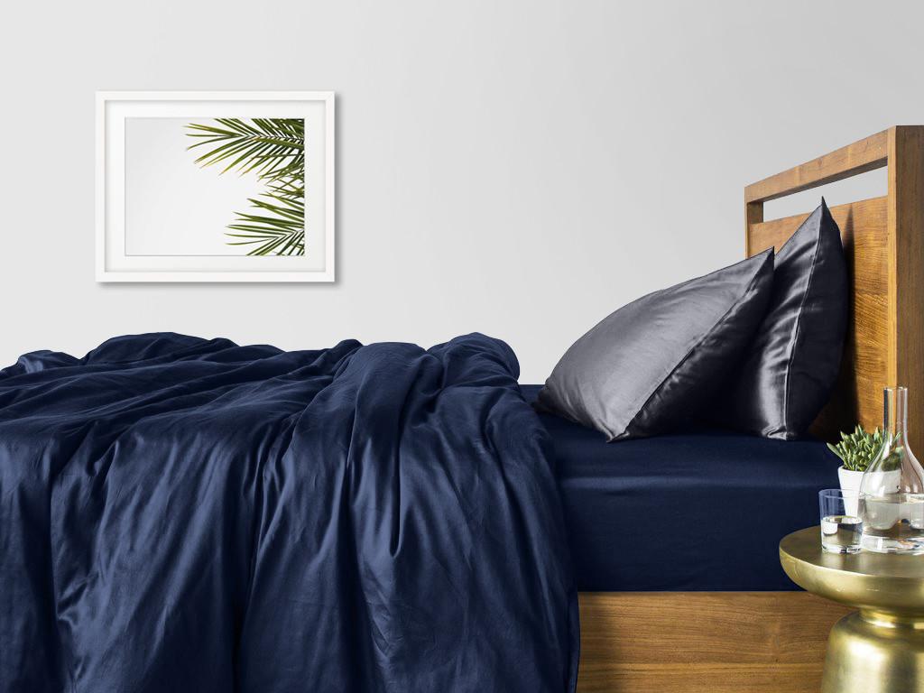 Комплект семейного постельного белья сатин DARK BLUE GREY-P