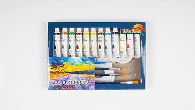 Масляные краски PEPPY PINTO OL12-12F. 12 тюбиков по 12мл. 4 кисточки и палитра.