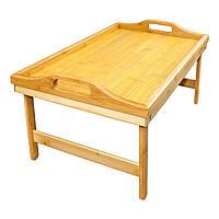 🔝 Бамбуковый столик для завтрака в постель, деревянный поднос, , Меблі, надувна меблі та аксесуари