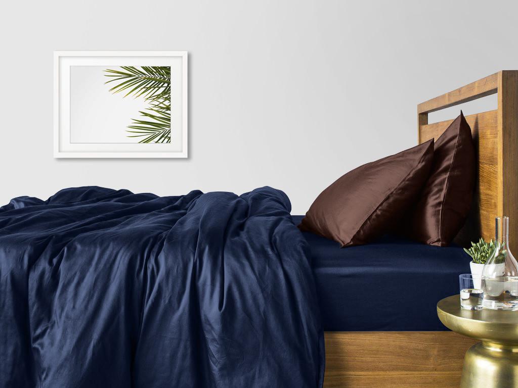 Комплект семейного постельного белья сатин DARK BLUE CHOCOLATE-P