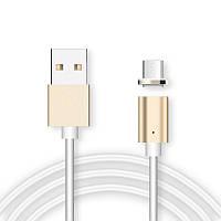 🔝 Магнитный кабель, зарядка для телефона Magnetic Cable 2 в 1 Золотистый, Зарядні пристрої, кабелі, адаптери, перехідники, Зарядные устройства,