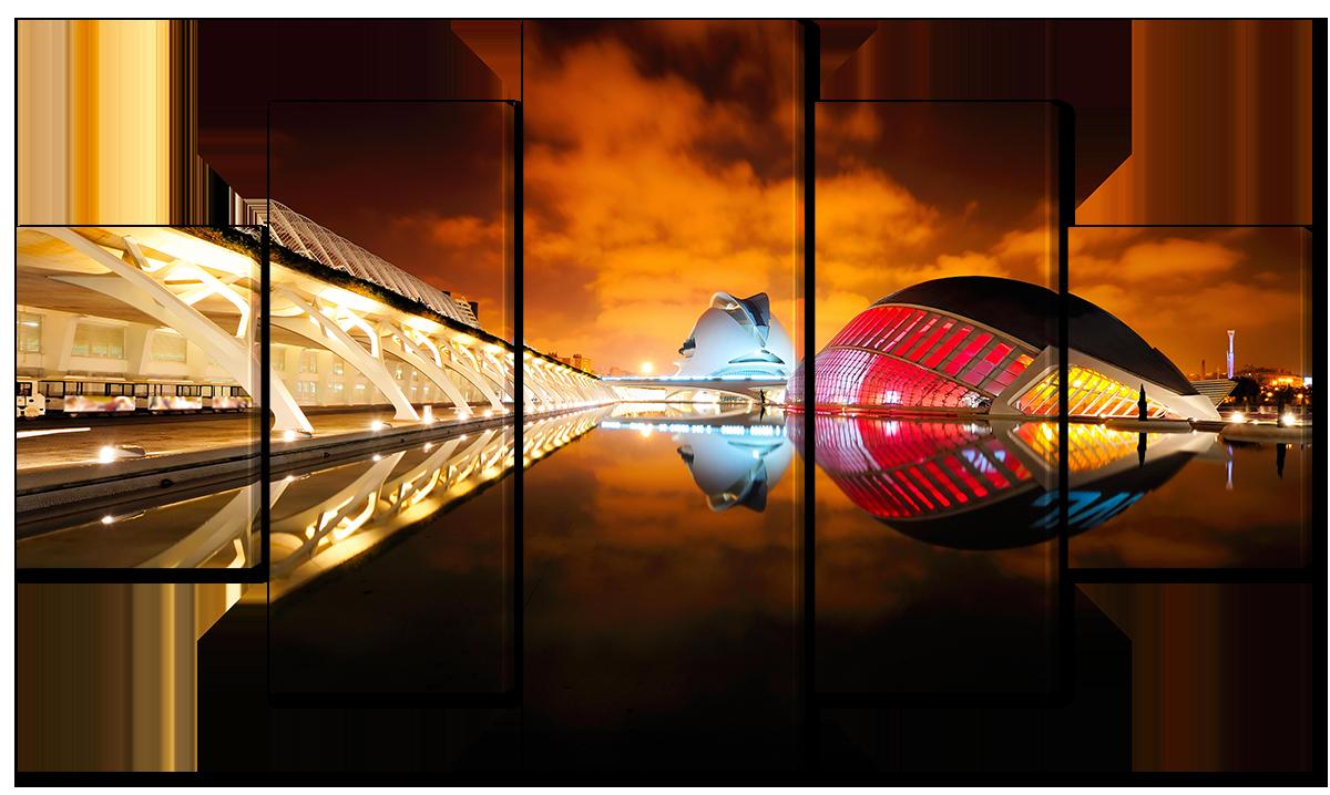 Модульная картина Interno Эко кожа Космо город 108х60см (A1660S)